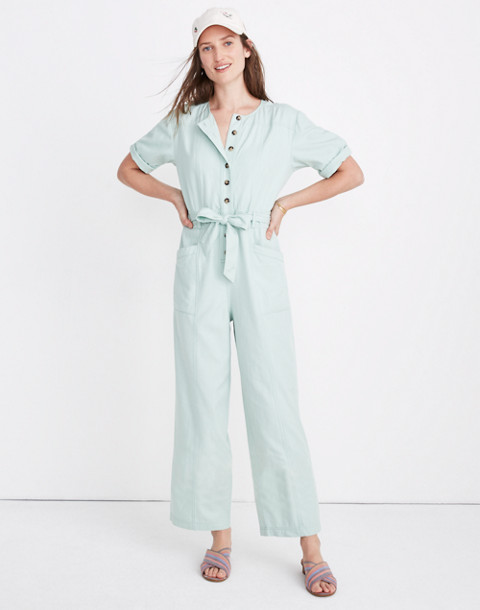 Petite Top-Stitched Coverall Jumpsuit in sea haze image 2