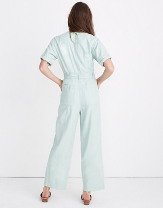 Top-Stitched Coverall Jumpsuit in sea haze image 3
