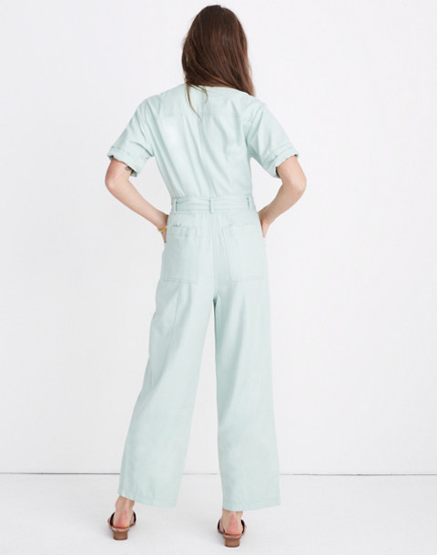 Petite Top-Stitched Coverall Jumpsuit in sea haze image 3