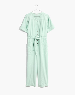 Top-Stitched Coverall Jumpsuit in sea haze image 4