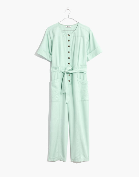 Petite Top-Stitched Coverall Jumpsuit in sea haze image 4