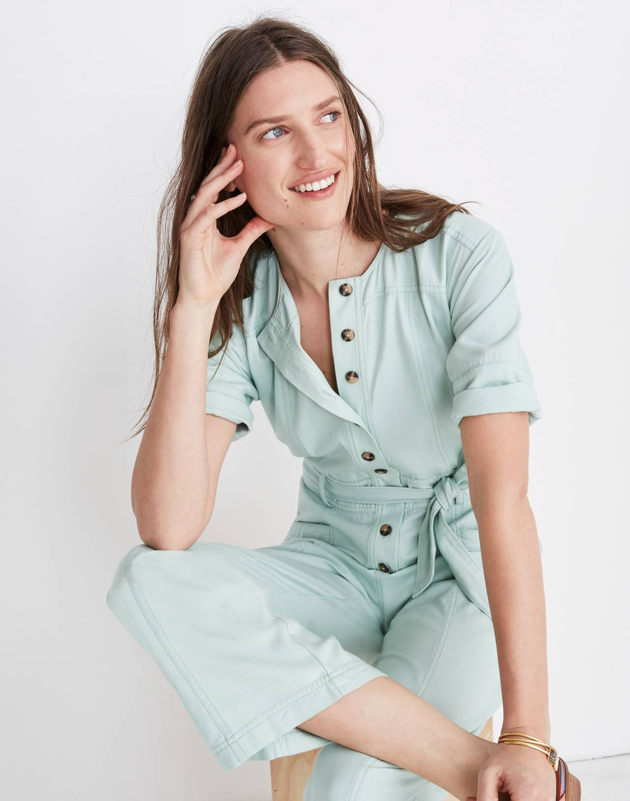 Top-Stitched Coverall Jumpsuit in sea haze image 1