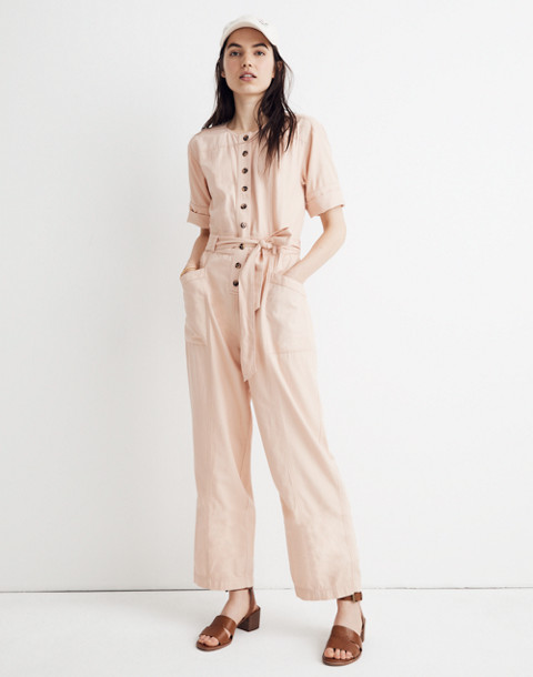Petite Top-Stitched Coverall Jumpsuit in bashful blush image 2