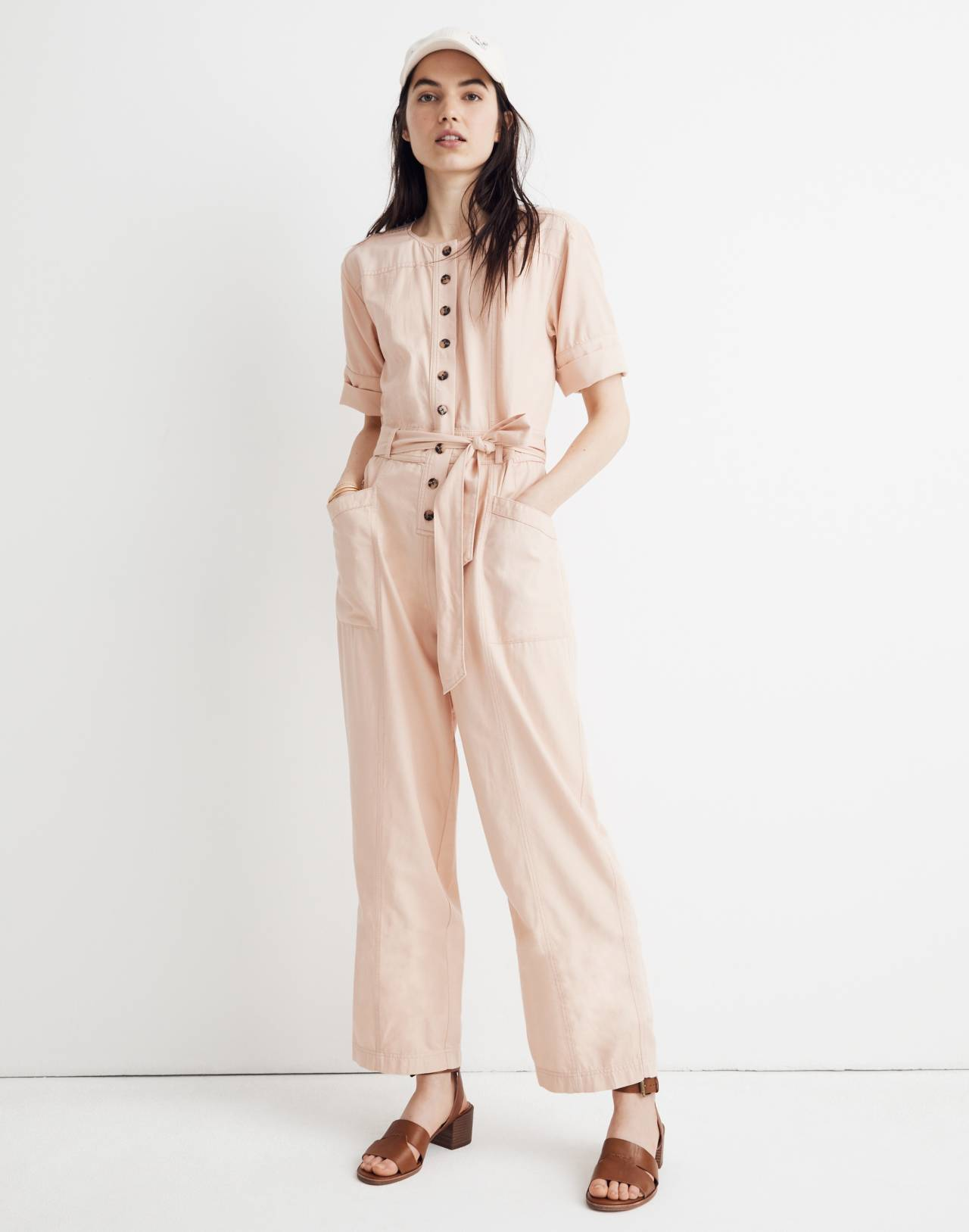Top-Stitched Coverall Jumpsuit in bashful blush image 2