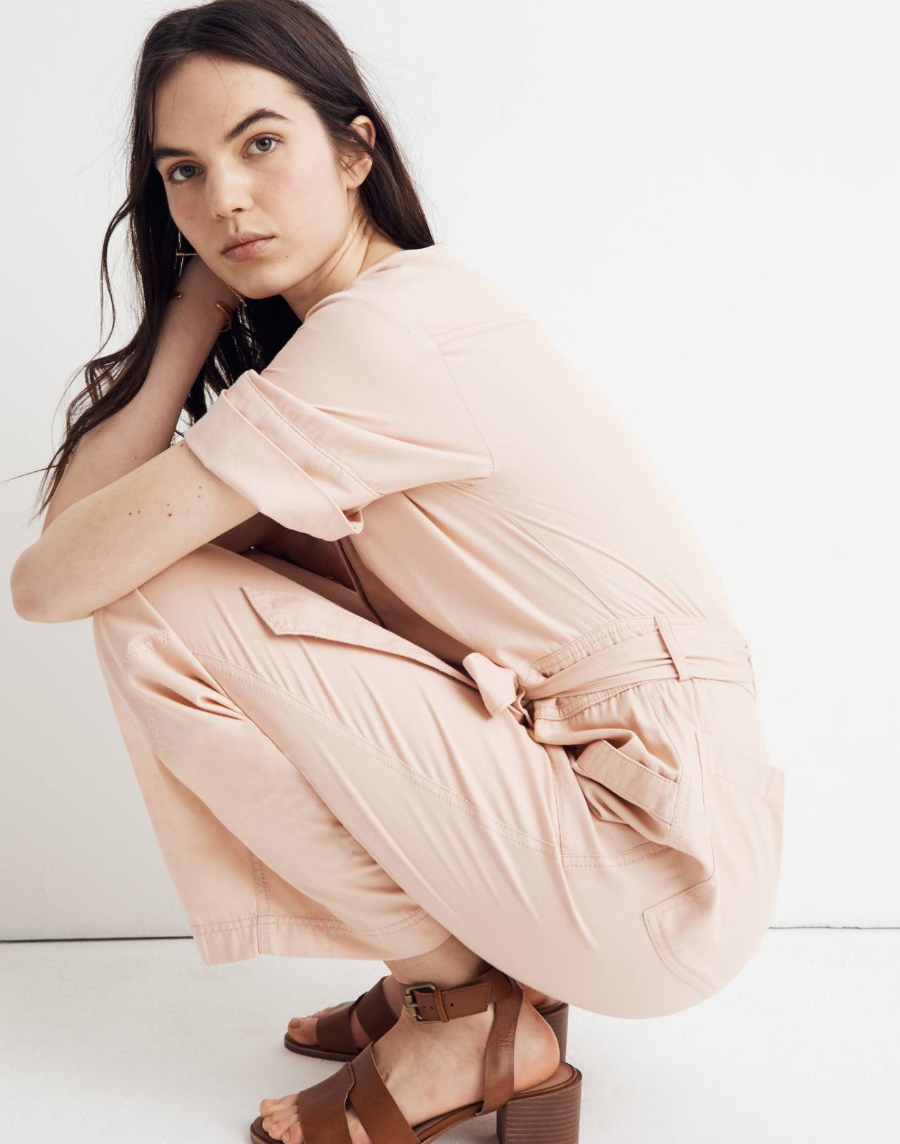 Top-Stitched Coverall Jumpsuit in bashful blush image 3
