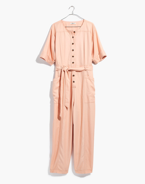 Petite Top-Stitched Coverall Jumpsuit in bashful blush image 4