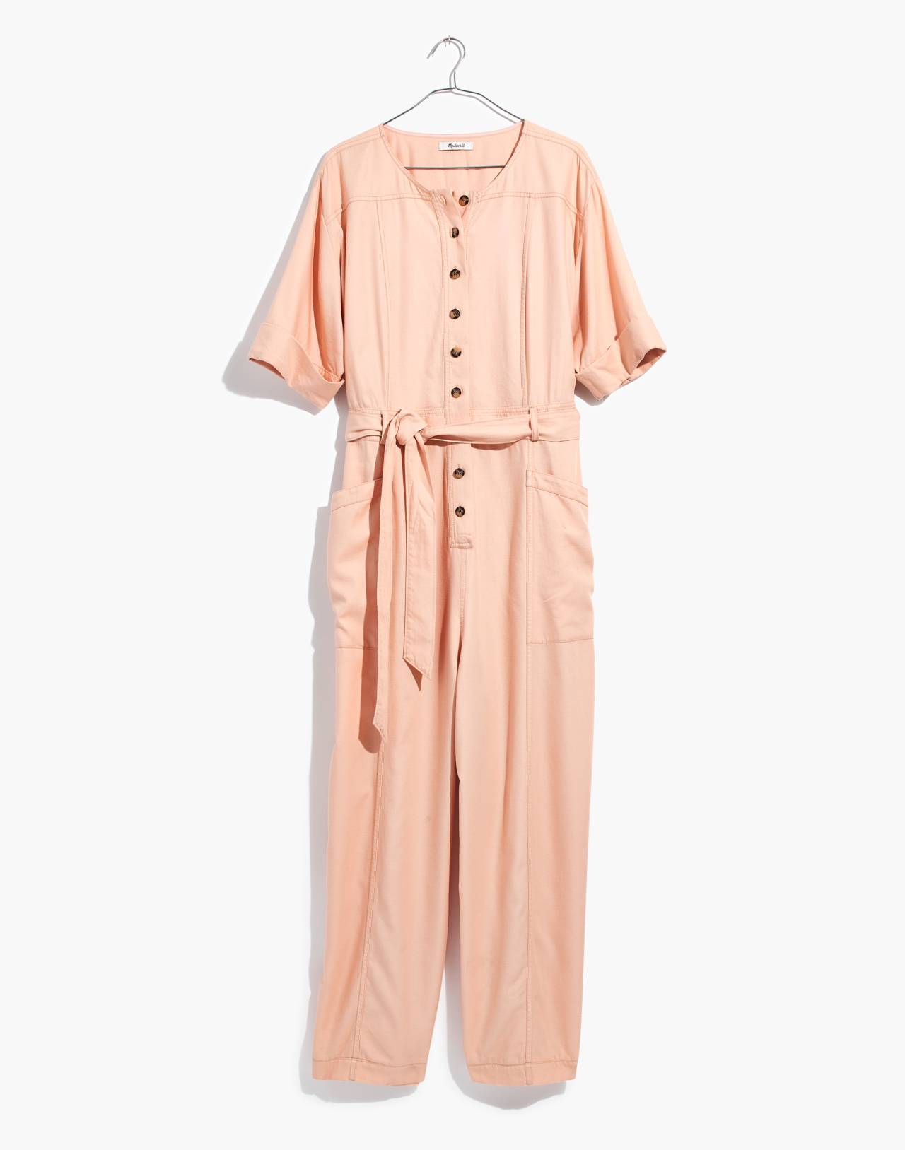 Top-Stitched Coverall Jumpsuit in bashful blush image 4