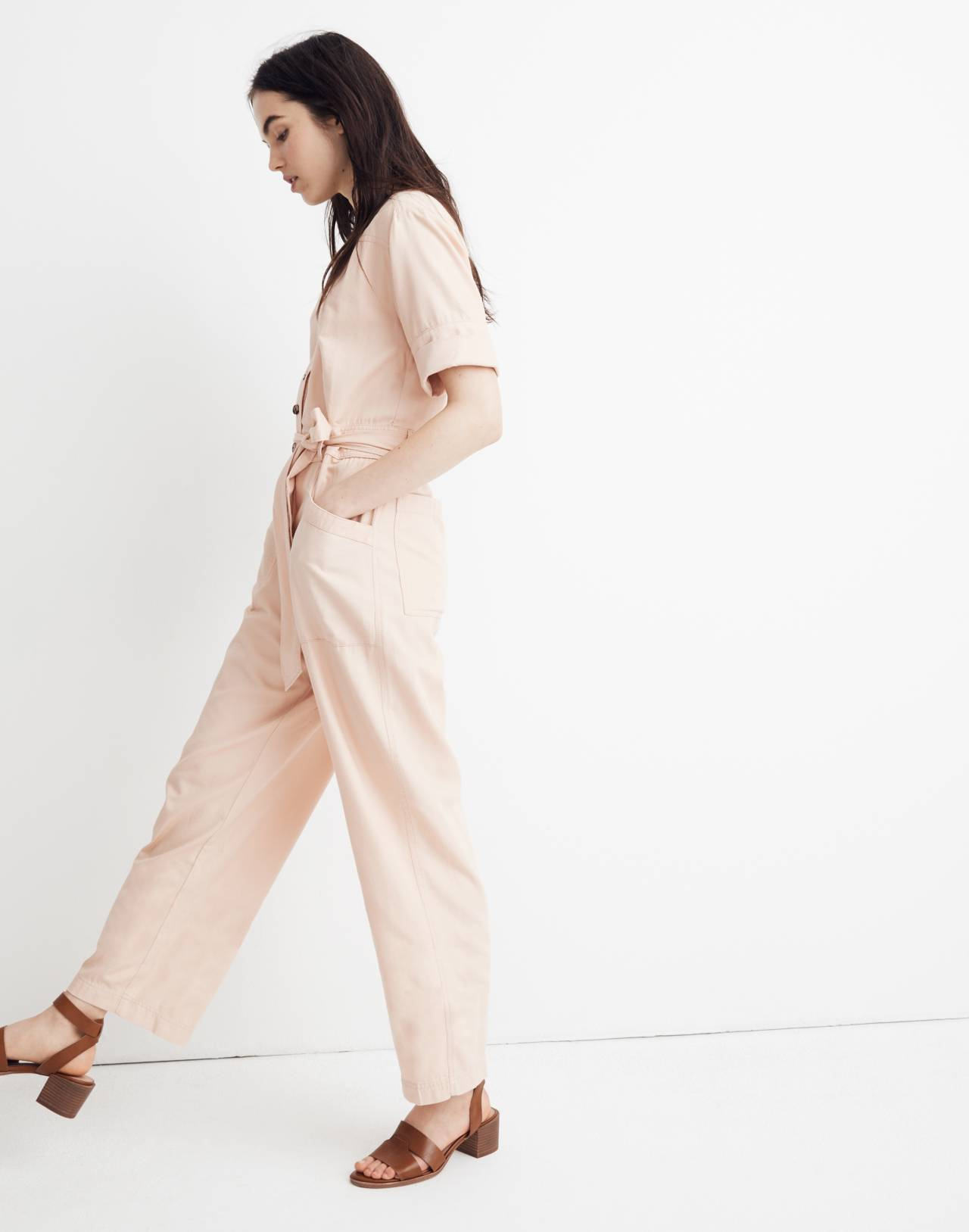 Top-Stitched Coverall Jumpsuit in bashful blush image 1