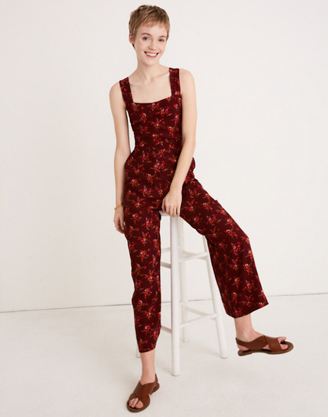 Apron Bow-Back Jumpsuit in Windowbox Floral in country floral rich burgundy image 2