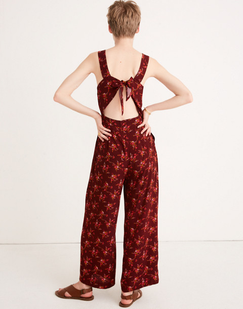 Apron Bow-Back Jumpsuit in Windowbox Floral in country floral rich burgundy image 3