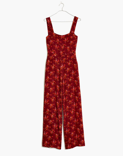 Apron Bow-Back Jumpsuit in Windowbox Floral in country floral rich burgundy image 4