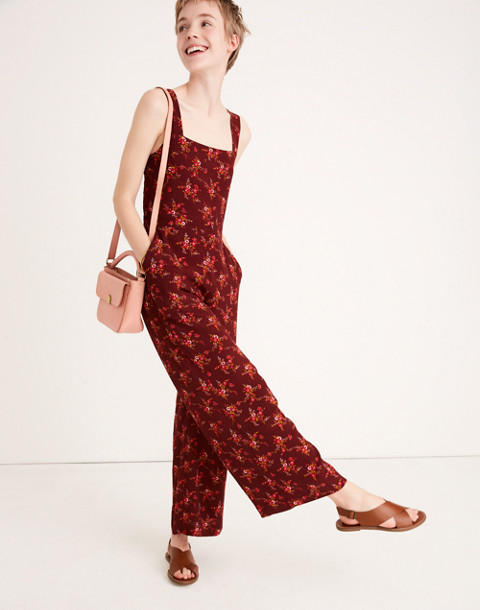 Apron Bow-Back Jumpsuit in Windowbox Floral in country floral rich burgundy image 1