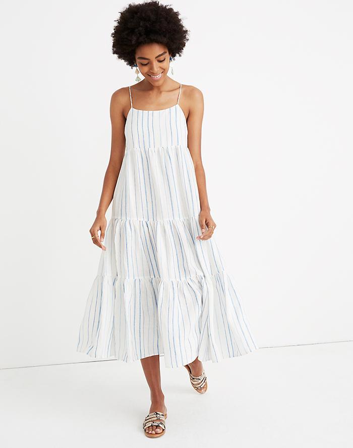 1b05f83a199 Cami Tier Midi Dress in Stripe