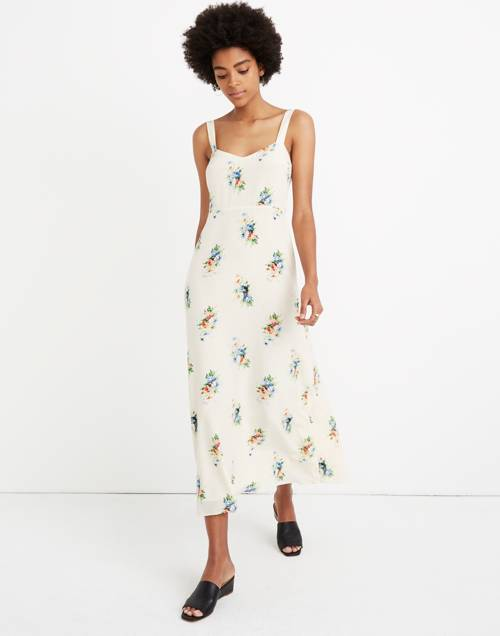 Silk Wide Strap Midi Dress In Classic Corsage by Madewell
