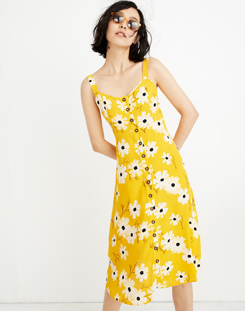 7ae1eeff6 Button-Front Midi Dress in Ikat Floral in ikat floral golden lantern image 1