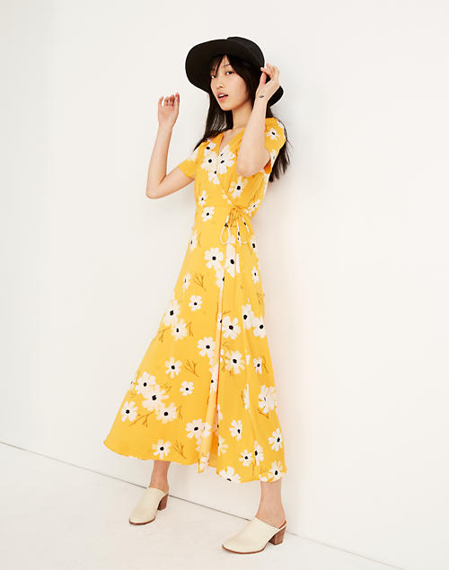 c3f78b375b7a Puff-Sleeve Wrap Midi Dress in Ikat Floral in ikat floral golden lantern  image 1