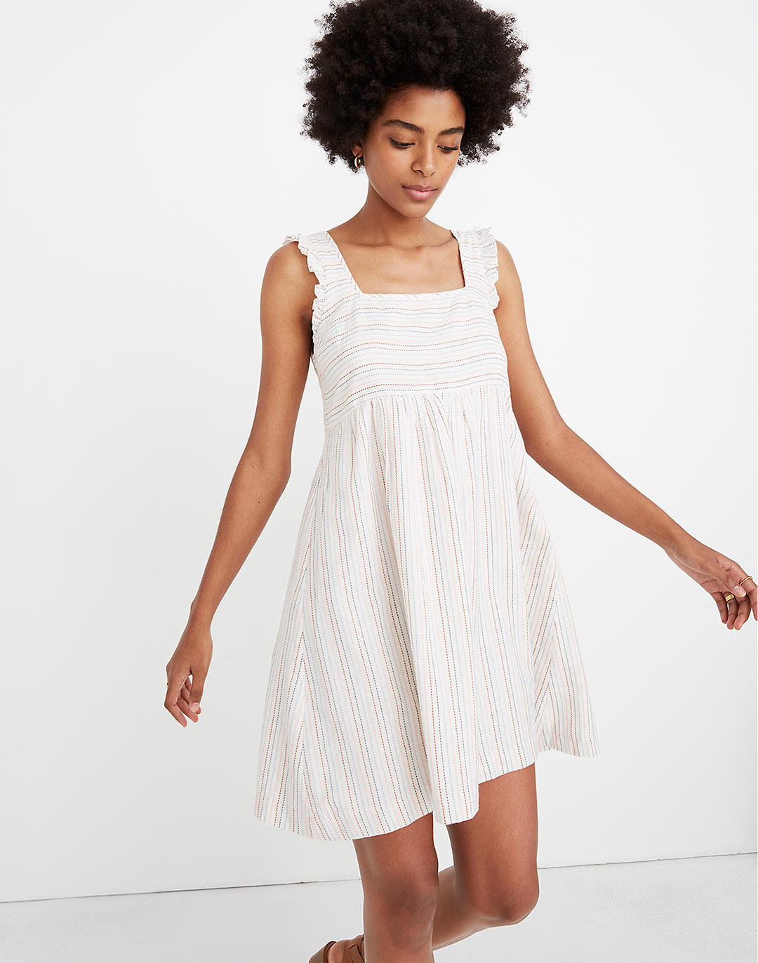 Ruffled Square-Neck Dress in Stitched Rainbow Stripe