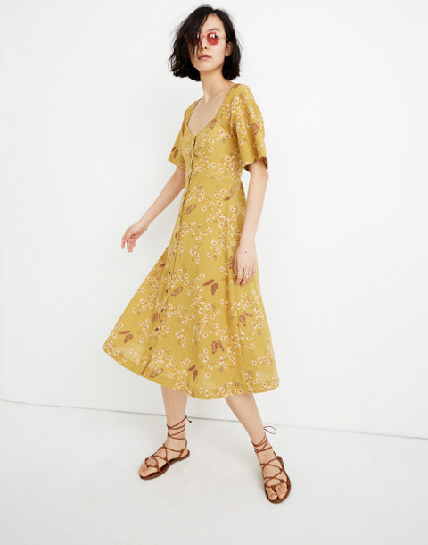 Flutter Sleeve Midi Dress In Windowbox Floral by Madewell