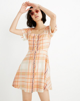 Shimmer Plaid Mini Dress by Madewell