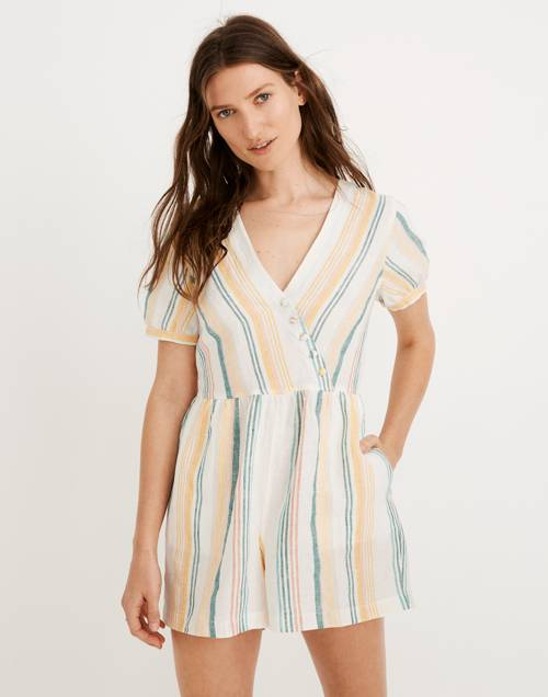 Linen Button Wrap Romper In Stripe by Madewell