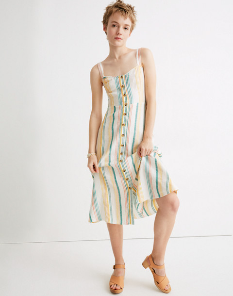 Linen Fitted Bodice Midi Dress In Rainbow Stripe by Madewell