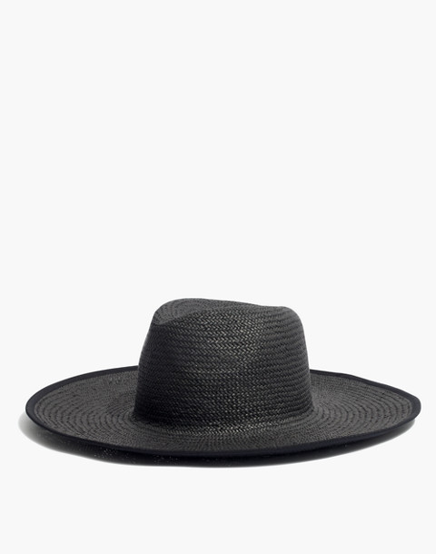 Wide-Brimmed Straw Sunhat in true black multi image 1