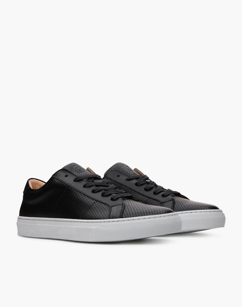 GREATS® Royale Perforated Leather Low-Top Sneakers in black image 1