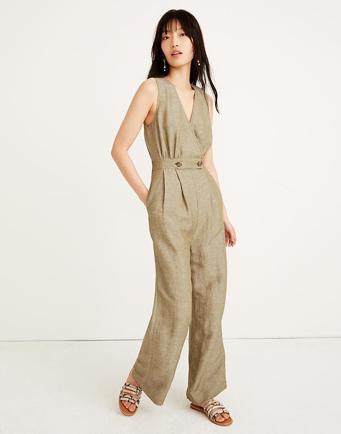 41c59c6d2aac Linen Button-Waist Wide-Leg Jumpsuit
