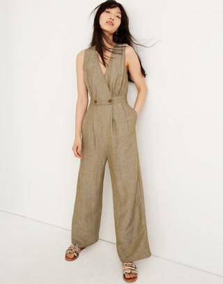 Linen Button Waist Wide Leg Jumpsuit by Madewell
