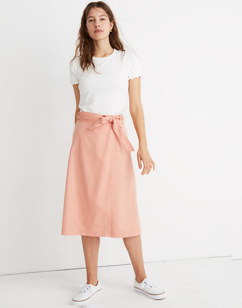 Belted Wrap Midi Skirt in antique coral image 1