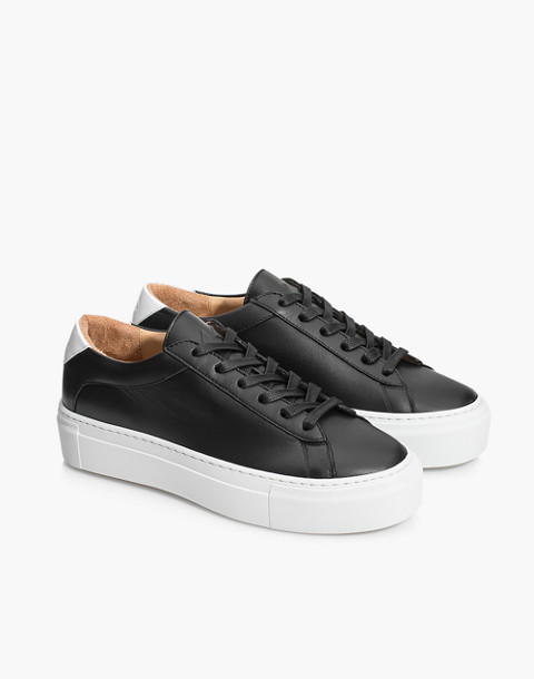 Unisex Koio Nero Platform Sneakers in Black Leather in black image 3