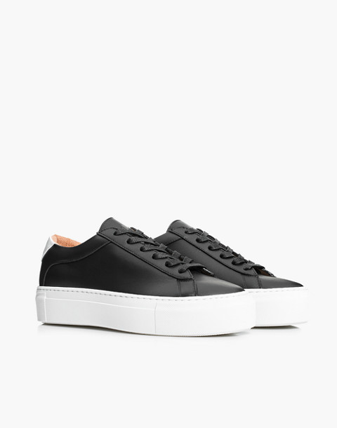 Unisex Koio Nero Platform Sneakers in Black Leather in black image 1