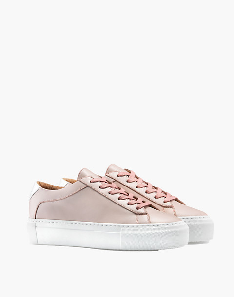 Unisex Koio Rosa Platform Sneakers in Pink Leather in pink image 1