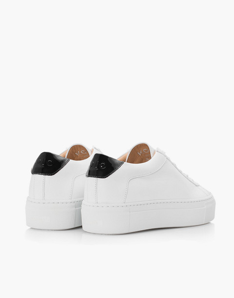 Unisex Koio Bianco Platform Sneakers in White Leather in white image 3