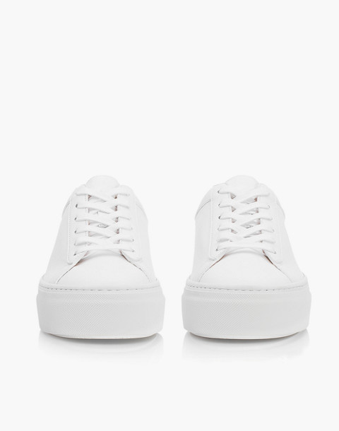 Unisex Koio Bianco Platform Sneakers in White Leather in white image 4