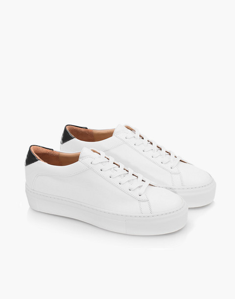Unisex Koio Bianco Platform Sneakers in White Leather in white image 2