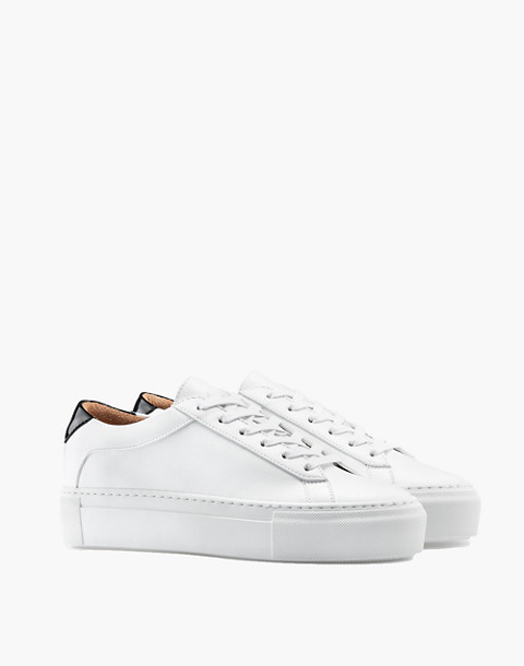 Unisex Koio Bianco Platform Sneakers in White Leather in white image 1