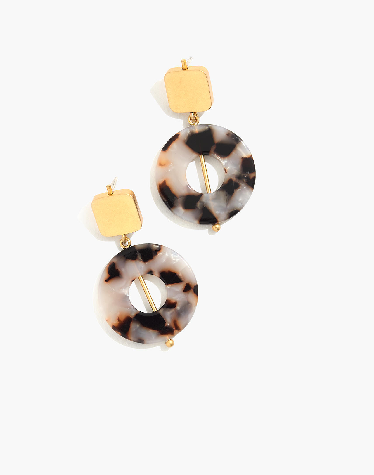 Linked Shapes Statement Earrings in shell tort image 1
