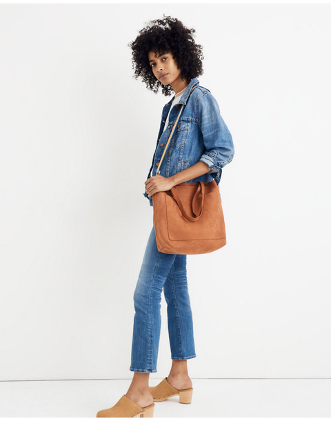 The Medium Transport Tote in Nubuck Leather: Rainbow Strap Edition in spiced cider image 2