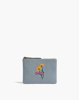 The Leather Pouch Wallet: Daisy Embroidered Edition by Madewell