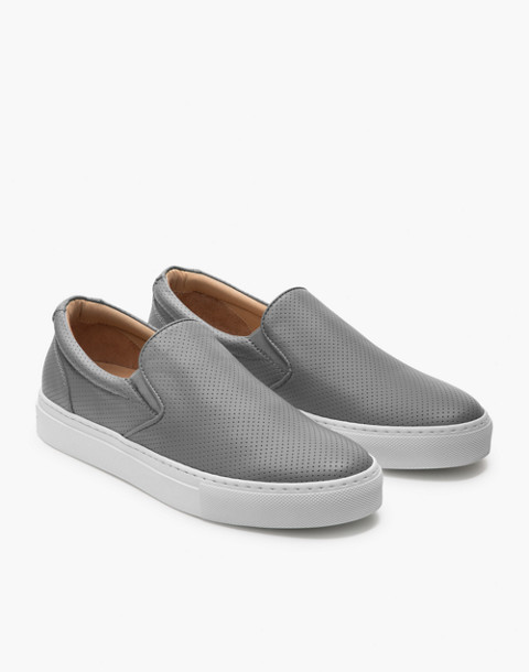 GREATS® Wooster Perforated Leather Slip-On Sneakers in gray image 1