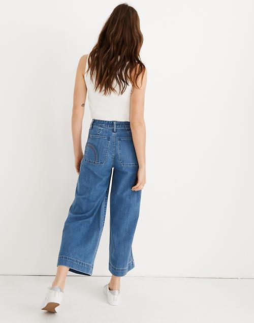 77fd85562 Emmett Wide-Leg Crop Jeans: Rainbow Stitched Edition in rainbow indigo  image 3