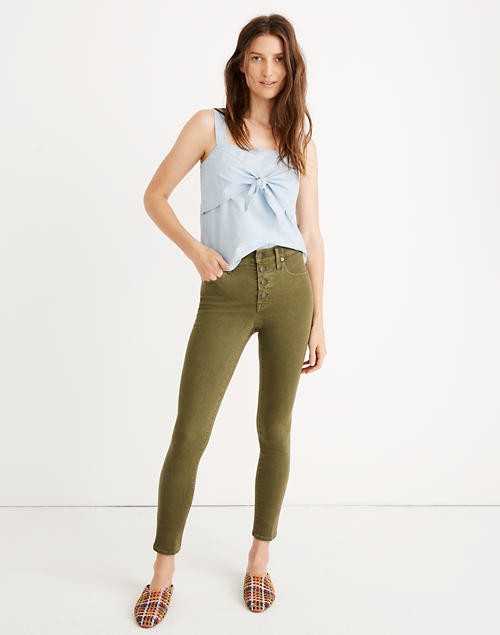"Petite 9"" Mid Rise Skinny Crop Jeans: Garment Dyed Button Front Edition by Madewell"