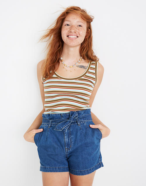 Denim Paperbag Shorts In Deacon Wash by Madewell