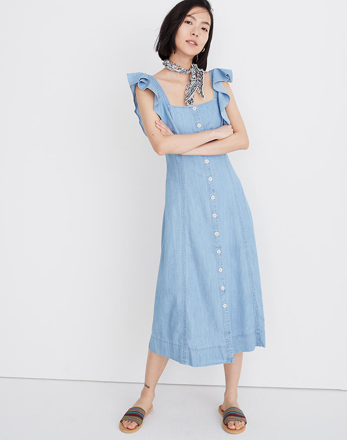 a9de65c670f New. Denim Princess-Seamed Maxi Dress