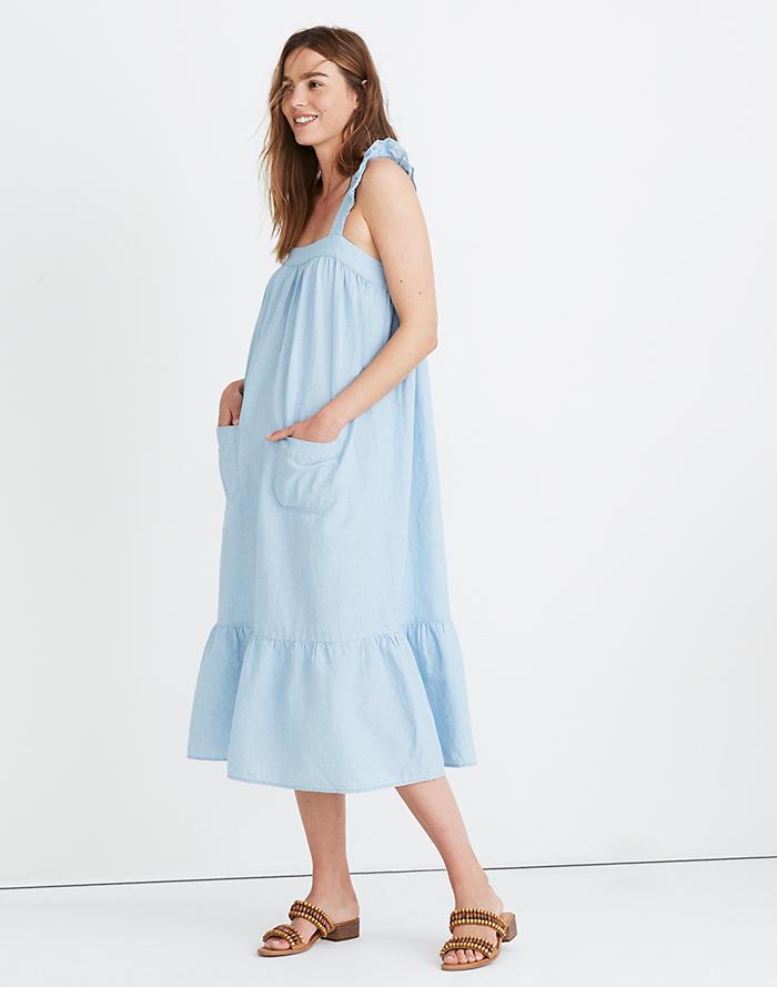 cad0c961f61a08 New. Denim Ruffle-Strap Tiered Maxi Dress