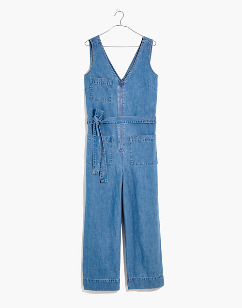 Denim Sleeveless Zip-Front Jumpsuit in Conroy Wash in conroy wash image 4