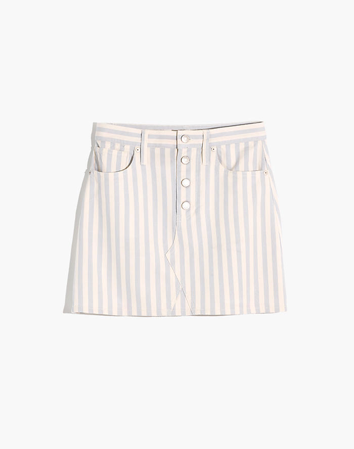 814222aacf Stretch A-Line Mini Skirt in Pompano Stripe: Button-Front Edition