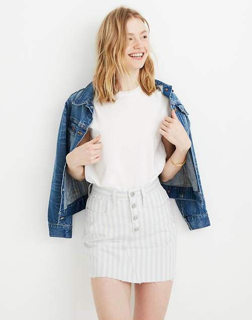 Stretch A Line Mini Skirt In Pompano Stripe: Button Front Edition by Madewell