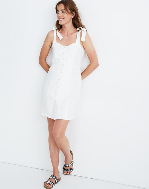 Tie Strap Button Front Sundress In Pure White by Madewell